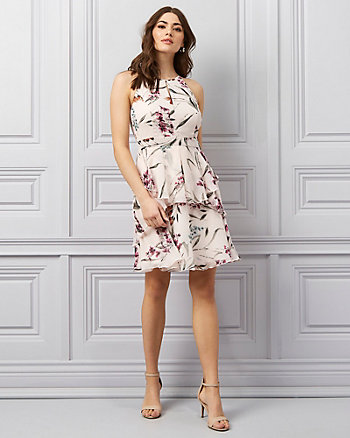Floral Print Chiffon Halter Neck Dress