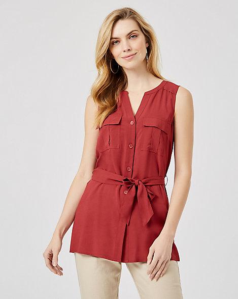 LE CH/ÂTEAU Front Pocket Sleeveless Top