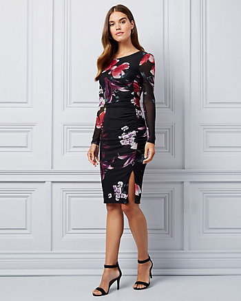 Floral Print Mesh Scoop Neck Dress