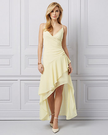 Chiffon High-Low Ruffle Gown