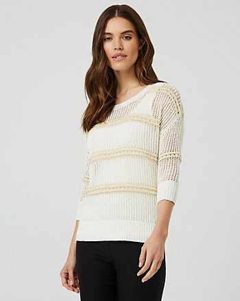 Metallic Knit Open-Stitch Crew Neck Sweater