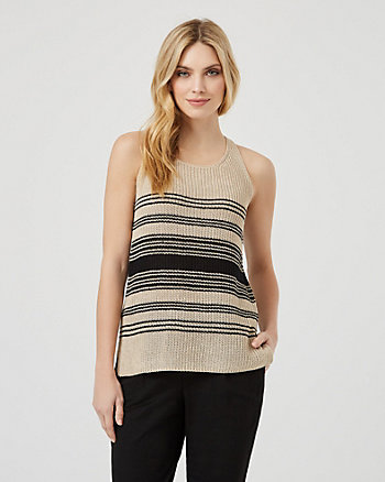 Stripe Knit Scoop Neck Tank Top