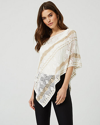 Open-Stitch Knit Asymmetrical Poncho