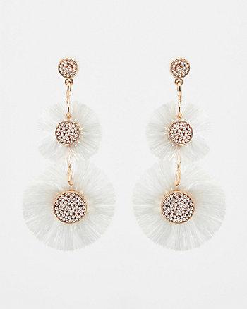 Pearl-Like Floral Tassel Drop Earrings