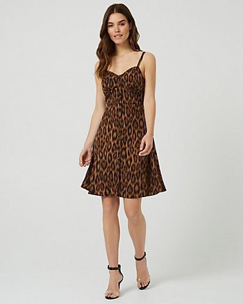 Leopard Print Button-Front Bustier Dress