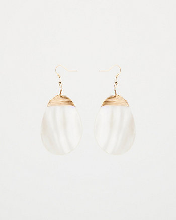 Oval Pearl-Like Drop Earrings