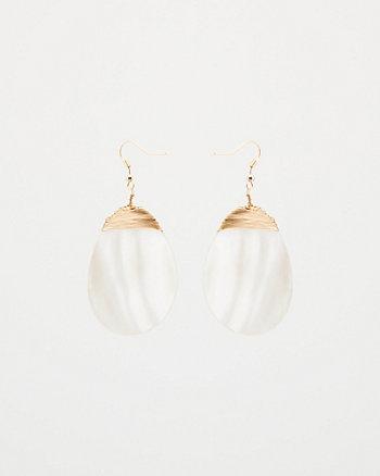 Oval Pearl-Like Drop Earrings