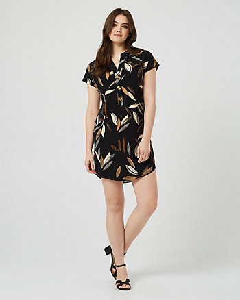 Leaf Print V-Neck Tunic Dress
