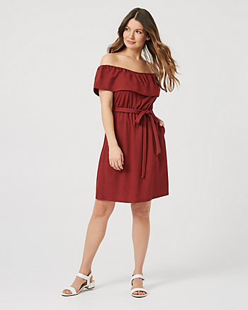 Piqué Off-the-Shoulder Ruffle Dress