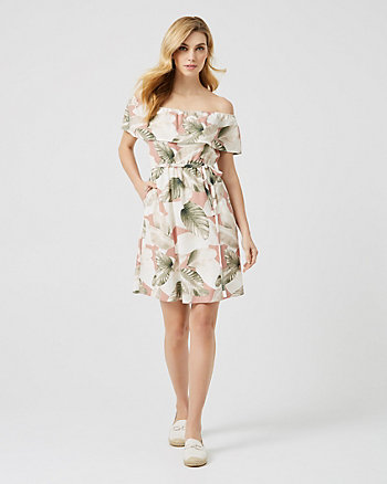 Tropical Print Off-the-Shoulder Dress
