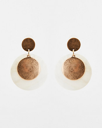 Shell & Metal Circular Drop Earrings