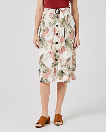 Tropical Print Flared Midi Skirt