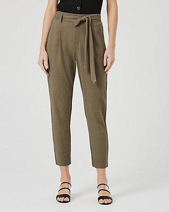 Pantalon à plis en piqué