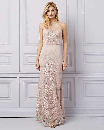 Embroidered Mesh & Tulle Illusion Gown
