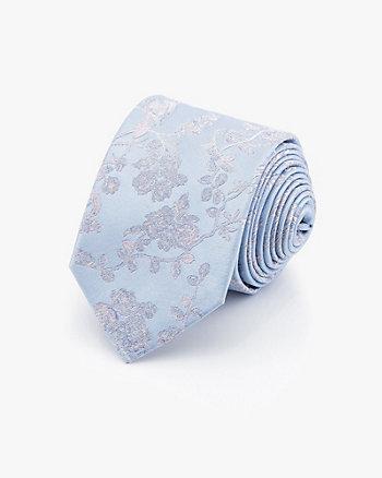 Bird & Floral Print Silk Tie