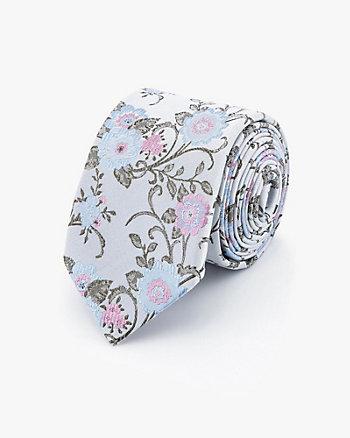 Cravate à motif floral en soie