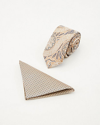 Paisley Print Tie & Pocket Square Set