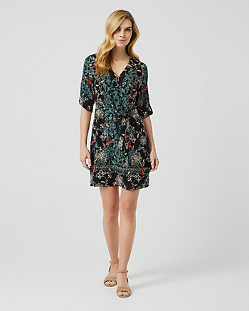 Floral Print V-Neck Tunic Dress