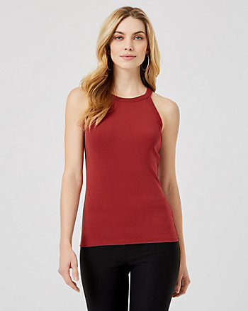 Cotton Blend Halter Neck Sleeveless Top
