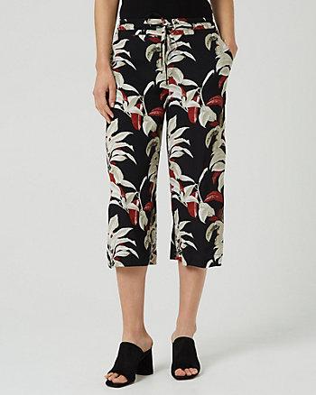 Jupe-culotte à motif tropical en viscose