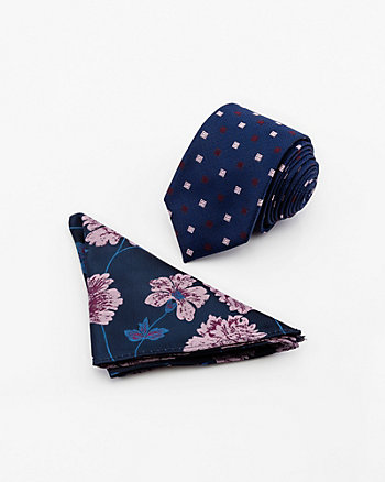 Geo & Floral Print Tie & Pocket Square Set
