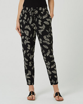 Abstract Print Challis Slim Leg Track Pant