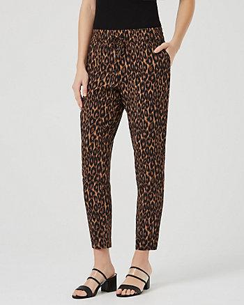 Leopard Print Challis Slim Leg Track Pant