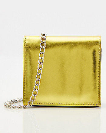 Metallic Faux Leather Belt Bag