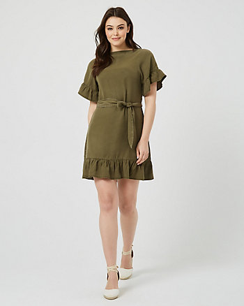 Lyocell Ruffle Tunic Dress