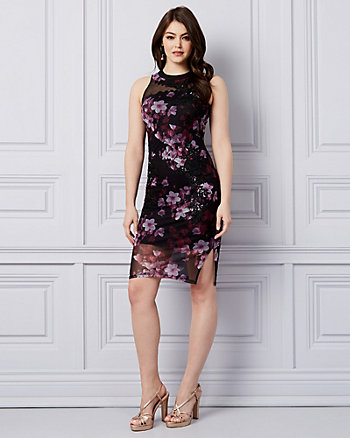 Floral Embroidered Cocktail Dress