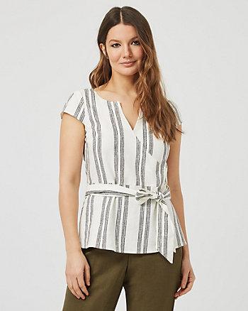 Stripe Linen Blend Belted Blouse