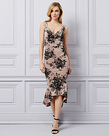 Flocked Floral Print Knit Trumpet Dress