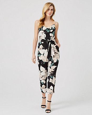 Floral Print Belted Slim Leg Jumpsuit