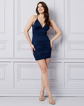 Knit V-Neck Banded Mini Dress