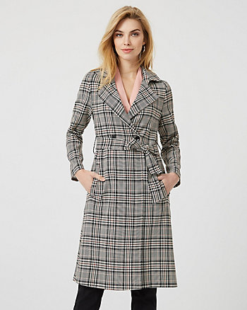 Check Print Viscose Blend Trench Coat