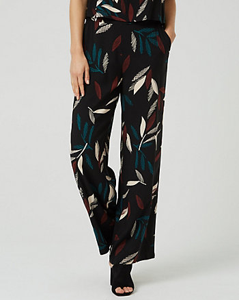 Leaf Print Challis Wide Leg Pant