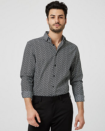 Dot Print Cotton Tailored Fit Shirt