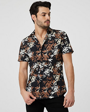 Tropical Print Cotton Slim Fit Shirt