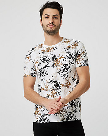 Tropical Print Cotton Crew Neck T-Shirt