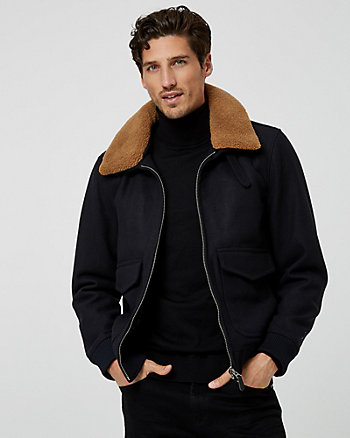 Wool Blend & Faux Sherpa Bomber Jacket
