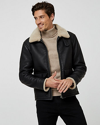 Faux Leather & Sherpa Aviator Jacket