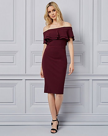 Knit Crêpe Off-The-Shoulder Ruffle Dress