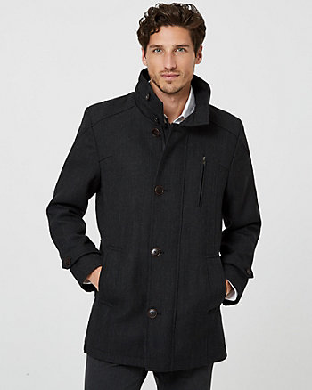 Hooded Wool Blend Tailored Fit Car Coat