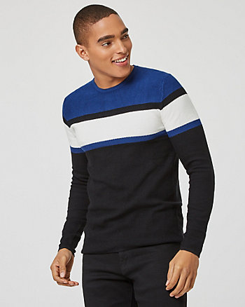 Stripe Knit Crew Neck Slim Fit Sweater