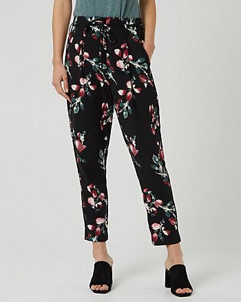 Floral Print Crêpe Slim Leg Track Pant