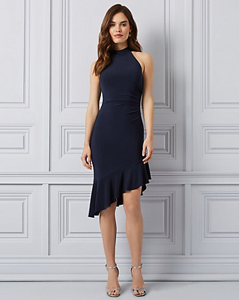 Knit Mock Neck Ruffle Dress