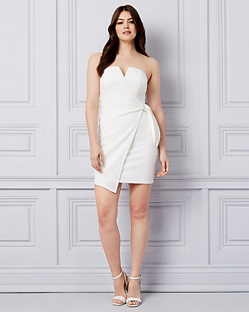 Knotted Knit Strapless Wrap-Like Dress