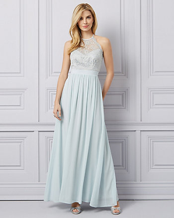 Lace & Chiffon Halter Neck Gown
