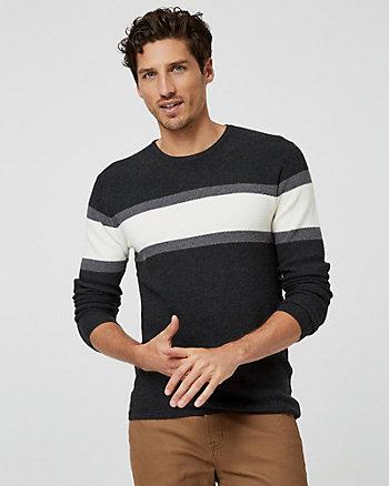 Stripe Viscose Blend Crew Neck Sweater
