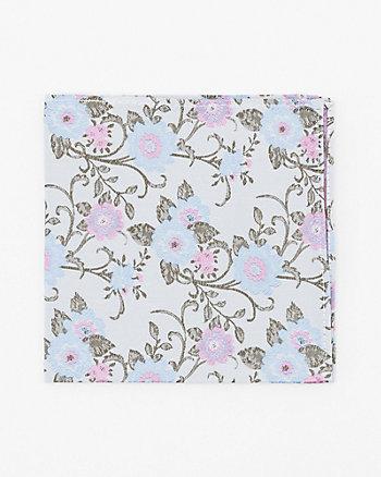 Mouchoir de poche à motif floral en soie